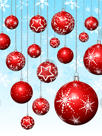 Hanging baubles on snowflakes stock vector clipart, Hanging Christmas baubles on snowflake background by Kirsty Pargeter