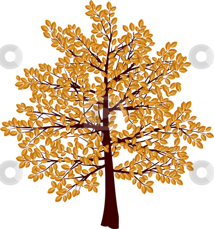Autumn tree stock vector clipart, Illustration of a tree with autumn leaves by Kirsty Pargeter