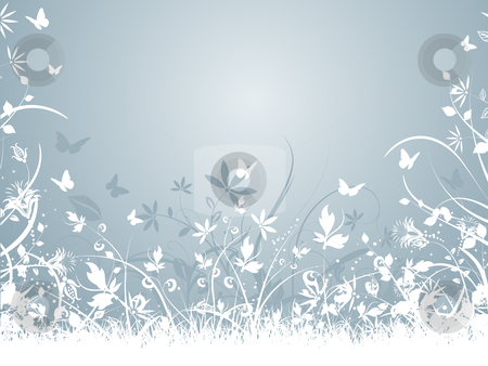 Chaotic nature stock vector clipart, Abstract floral background with butterflies by Kirsty Pargeter