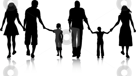 Families stock vector clipart, Silhouettes of two families walking by Kirsty Pargeter