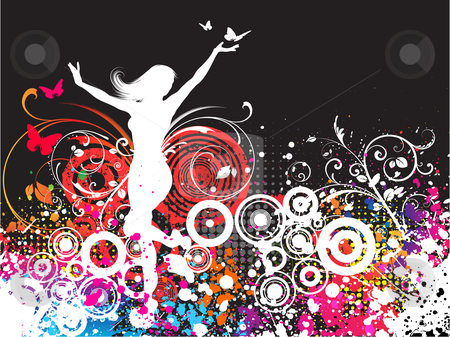 Grunge female stock vector clipart, Silhouette of a female dancing on a chaotic grunge background by Kirsty Pargeter