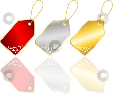 Christmas labels stock vector clipart, Christmas labels with starry design by Kirsty Pargeter