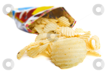 Bag of chips stock photo, Spilt bag of ripple chips on a white background by Steve Mcsweeny