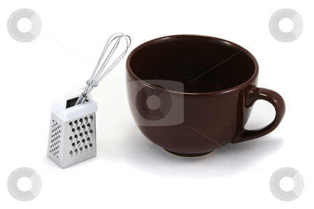 Large Brown Cappuchino Mug with Whisk and Grater stock photo, Large brown cappuchino coffee mug with chocolate grater and mini whisk by Helen Shorey