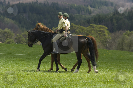 Mounted police stock photo, 2 mounted german policemen in the swabian mountains by Andreas Brenner