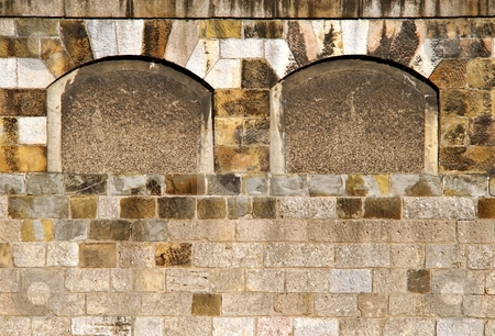 Stonne wall with blind windows stock photo, Detail of a wall from stones with two blind windows by Juraj Kovacik