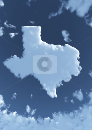 Texas in Clouds stock photo, The shape of the state of Texas in clouds. by Allan Tooley
