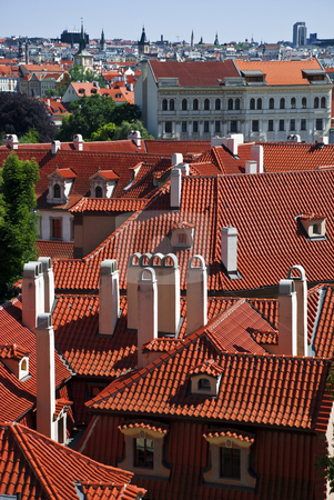 Rooftops stock photo, A view of rooftops of old historical buildings in Mala Strana, Prague. by Petr Svec