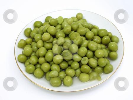 Plate of pea stock photo, The plate of the rich green pea by Sergej Razvodovskij