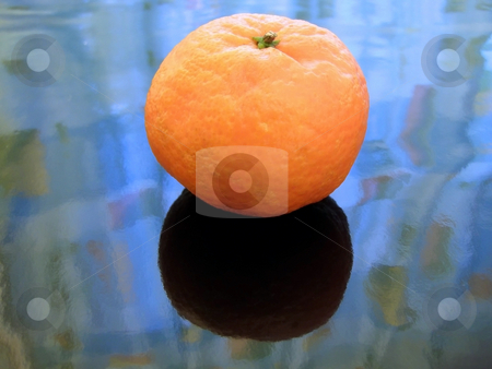 Mandarin on ice stock photo, Single orange mandarin against the blue background by Sergej Razvodovskij
