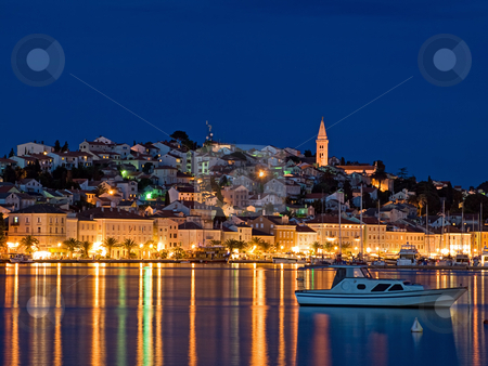 Mali Losinj stock photo, Evening View of the largest city on the island Losinj,Croatia. Long blend exposure. by Sinisa Botas
