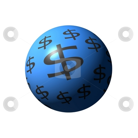 Dollar Sphere stock photo, A blue sphere with dollar signs on white background. by Henrik Lehnerer
