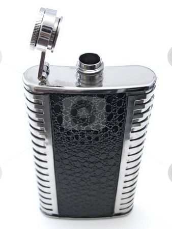 Alcohol flask  stock photo, Metallic open flask with alcohol against the white bacground by Sergej Razvodovskij