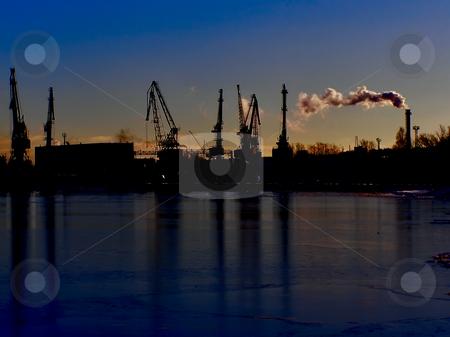 Night port stock photo, Night cargo side port with big ships and cranes by Sergej Razvodovskij