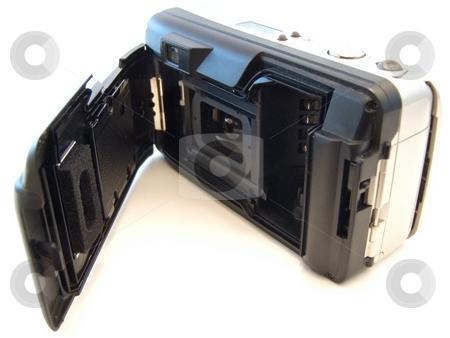 Photographic camera stock photo, Open backside of the photographic camera over white by Sergej Razvodovskij
