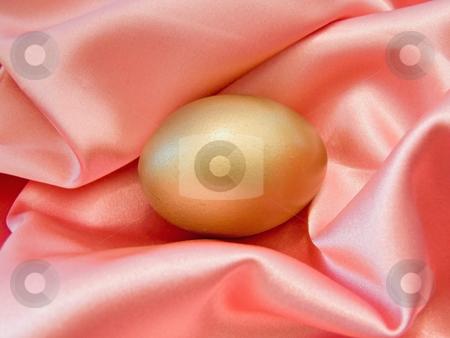 Golden egg in silk stock photo, Single golden egg in the pink silk by Sergej Razvodovskij