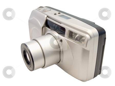 Camera stock photo, Photograph camera with the zoom and flash by Sergej Razvodovskij