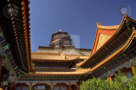 Summer Palace Clear Blue Sky Beijing, China stock photo, Summer Palace Blue Sky Beijing China  Recently, the Chinese government has restored the Summer Palace for the Beijing Olympics.  The Summer Palace is the Palace of the Qing Dynasty. by William Perry