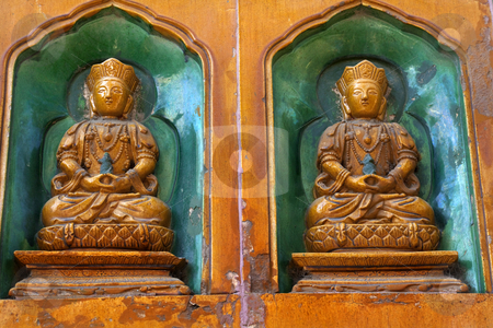 Buddha Statues Summer Palace Beijing China stock photo, Buddha Statues Summer Palace Wall Decorations Beijing China by William Perry