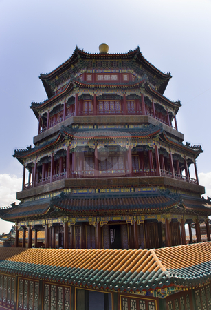 Longevity Hill Tower of the Fragrance of the Buddha Summer Palac stock photo, Longevity Hill Tower of the Fragrance of the Buddha Summer Palace Beijing China by William Perry