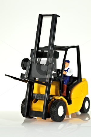 Forklift stock photo, A toy forklift truck by Norma Cornes