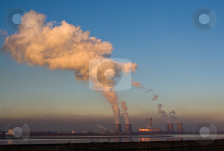 Power station stock photo, A power station at dusk reflected in the river by Norma Cornes