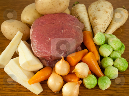 Beef and vegetables stock photo, Beef and vegetable ready to prepare for a meal by Norma Cornes