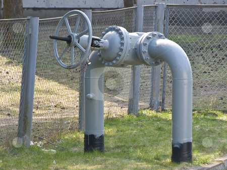 Gas valve stock photo, Gas station with big gas valve in the outdoors by Sergej Razvodovskij