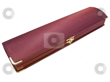 Jewellery box stock photo, Isolated closed wine colored single jewellery box by Sergej Razvodovskij