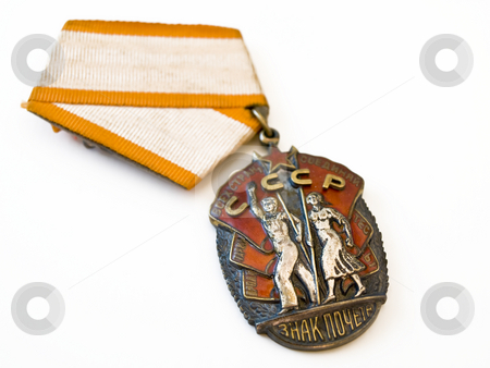 Medal USSR stock photo, Old silver medal of the USSR against the white background by Sergej Razvodovskij