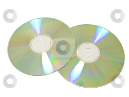 Two discs stock photo, Two isolated discs against the white background by Sergej Razvodovskij