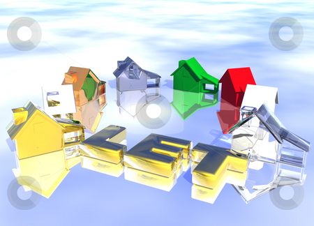 Let Gold Text Ring of Various Types of Houses stock photo, Let Gold Text Ring of Various Types of Houses in Different Styles Abstract Neighbourhood by Robert Davies