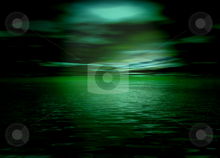 Beautiful Green Horizon Sea and Sky after sunset stock photo, Beautiful Green Horizon Sea and Sky after sunset by Robert Davies