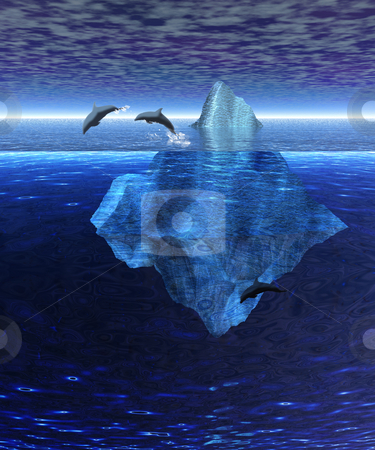 Beautiful Iceberg in the Open Ocean with Pod of Dolphins Swimmin stock photo, Beautiful Iceberg in the Open Ocean with Pod of Dolphins Swimming by Robert Davies