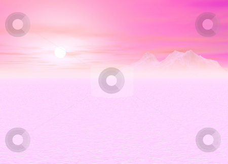 Romantic Pink Sunsetting over a distant Mountain stock photo, Romantic Pink Sunsetting over a distant Mountainous Plain by Robert Davies
