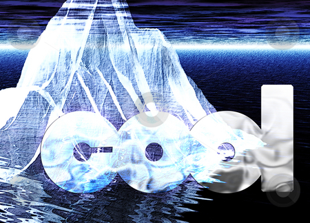 Floating Iceberg Close up with Message Cool stock photo, Floating Iceberg Close up with Message Cool by Robert Davies