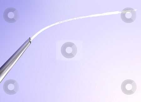 Macro of Needle Tip Squirting Water into the Sky stock photo, Macro of Needle Tip Squirting Spraying Water Arc into the Sky by Robert Davies