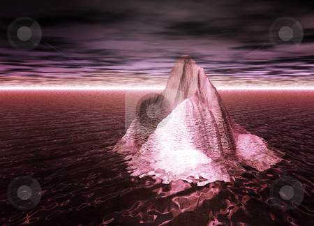 Iceberg Floating on a Red Ocean With Sky on Mars Fantasy Illustr stock photo, Iceberg Floating on a Red Ocean With Sky on Mars Fantasy Illustration by Robert Davies