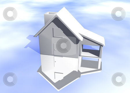 Plain White House Model Starter Home stock photo, Plain White House Model on Blue-Sky Background with Reflection Concept Start Home or New Buyer by Robert Davies