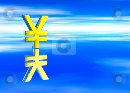 Gold Japanese YEN JPY Currency Symbol  stock photo, Gold Japanese YEN JPY Currency Symbol on Blue Background by Robert Davies