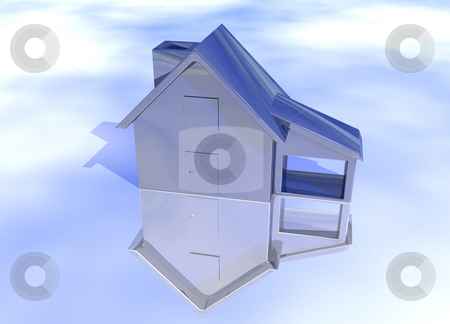 Blue Stainless Steel House  stock photo, Blue Stainless Steel House Model on Blue-Sky Background with Reflection Concept Cool Clean Modern by Robert Davies