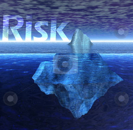 Floating Iceberg in the Ocean with Risk Text stock photo, Floating Iceberg in the Ocean with Risk Text by Robert Davies