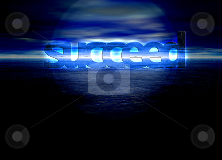 Succeed Text on Stunning Blue Bright Ocean Sea Horizon at Night stock photo, Succeed Text on Stunning Blue Bright Ocean Sea Horizon at Night by Robert Davies