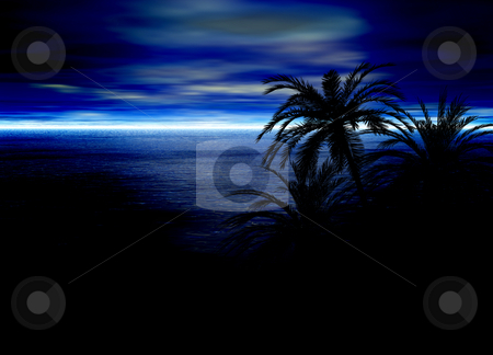 Blue Seascape Horizon With Palm Tree Silhouettes stock photo, Blue Seascape Horizon With Palm Tree Silhouettes by Robert Davies