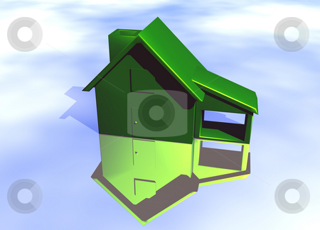 Green Environmental House Model  stock photo, Green House Model on Blue-Sky Background with Reflection Concept Eco Living by Robert Davies