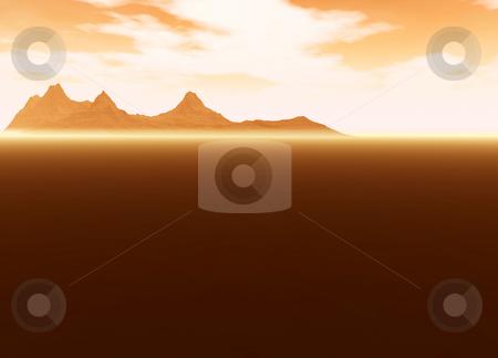 Distant Mountain on Horizon Landscape Desert Scenery stock photo, Distant Mountain on Horizon Landscape Desert Scene Lots of Room For Text by Robert Davies