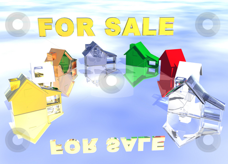 Different Styles Abstract Neighbourhood stock photo, For Sale Gold Text with Ring of Various Types of Houses in Different Styles Abstract Neighbourhood by Robert Davies