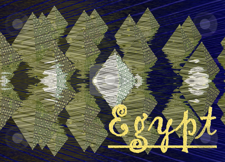 Yellow Pyramids and Reflections in Water with Egypt Text Illustr stock photo, Yellow Pyramids and Reflections in Water with Egypt Text Illustration by Robert Davies