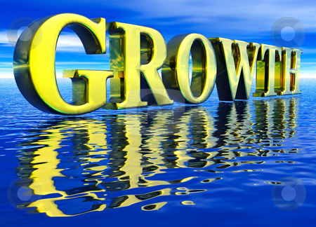 Gold Growth Text in 3d floating Big Over Water stock photo, Gold Large Growth Text in 3d floating Big Over Water Ocean by Robert Davies