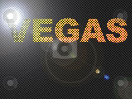 Dotted LED Lit Vegas Sign Glowing Bright Orange stock photo, Dotted LED Lit Vegas Sign Glowing Bright Orange by Robert Davies